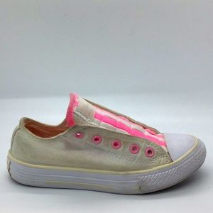 Girls Converse cloth slip ons low tops